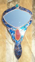 stained glass agate hand mirror