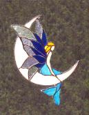 Mermaid on moon stained glass