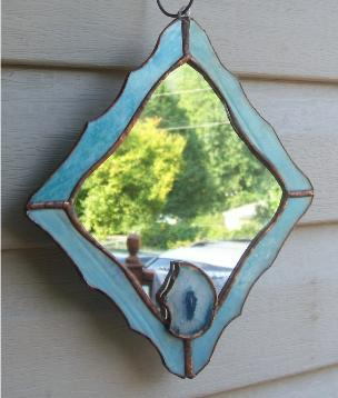 stained glass agate slab mirror