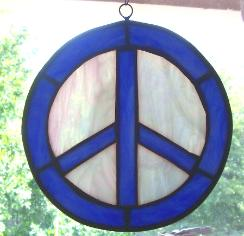 peace sign blue/white