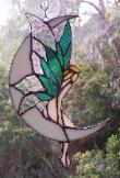 Fairy on moon stained glass